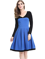 Women's Plus Size / Casual/Daily / Work Street chic Sheath DressColor Block V Neck Knee-length Long Sleeve