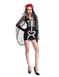 Fantasias Fantasma Dia Das Bruxas Preto Patchwork Terylene Vestido / Mais Acessórios