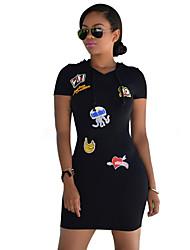 Moulante Robe Femme Décontracté / Quotidien Sexy / Mignon,Imprimé Capuche Mini Manches Courtes Noir Polyester Eté Taille Normale