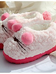 Girls' Slippers & Flip-Flops Comfort Fleece Fur Winter Casual Comfort Flat Heel White Blushing Pink Flat