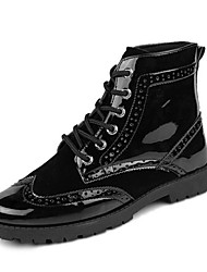 Men's Boots Fall / Winter Fashion Boots / Combat Boots Patent Leather Casual Flat Heel Lace-up Black / Blue / Red Others