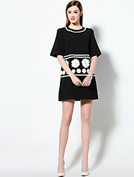 Boutique S  Women's  Simple A Line DressJacquard Round Neck Above Knee Short Sleeve Polyester Summer Mid Rise