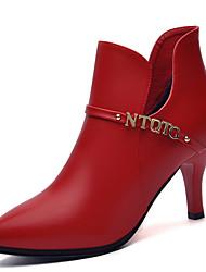 Damen-Stiefel-Büro / Lässig-Kunststoff-Stöckelabsatz-Modische Stiefel-Schwarz / Rot
