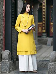 Courte Robe Femme Décontracté / Quotidien Vintage,Couleur Pleine Mao Mi-long Manches Longues Jaune Lin Automne / Hiver Taille NormaleNon