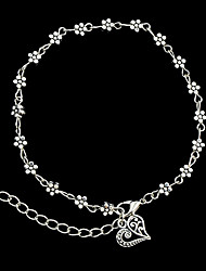 Beach Style Silver Color Metal Flower Charms Anklets