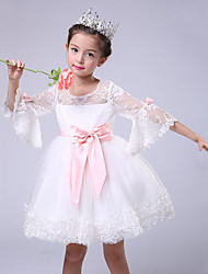 A-line Knee-length Flower Girl Dress - Cotton / Satin / Tulle 3/4 Length Sleeve Jewel with Bow(s) / Embroidery / Lace
