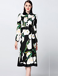 Boutique S  Women's  Trumpet/Mermaid DressFloral Round Neck Knee-length Long Sleeve Black Polyester Fall Mid Rise