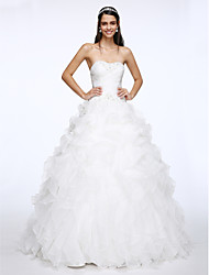 A-line Sweetheart Chapel Train Organza Wedding Dress with Beading Criss-Cross by LAN TING BRIDE®