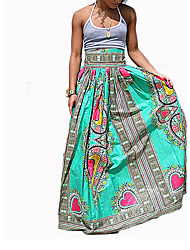 Women's Print Green SkirtsSimple Maxi