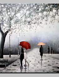Pintada a mano Abstracto Paisaje Personas Paisajes Abstractos Cuadrado,Modern Un Panel Lienzos Pintura al óleo pintada a colgar For