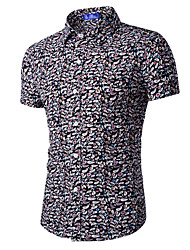 Men's Print Casual Shirt,Cotton Short Sleeve Black / Red