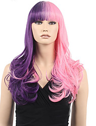 Popular Synthetic Hair Woman's Cosplay Wig Long Wavy Pink Mix Purple Synthetic Wigs