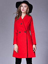 Women's Casual/Daily Simple Pea CoatsSolid V Neck Long Sleeve Winter Red / Yellow Wool / Cotton Thick