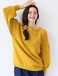 Mujer Regular Pullover Noche / Casual/Diario Simple,Un Color Amarillo Escote Redondo Manga Larga Algodón / Acrílico Otoño Medio