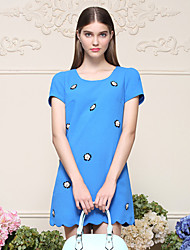 I'HAPPY Women's Going out Cute Sheath DressFloral Round Neck Above Knee Short Sleeve Blue Polyester Summer Mid