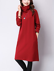 Women's Casual Vintage Loose DressSolid Turtleneck Long Sleeve Blue / Red / Black / Green Cotton / Linen Fall / Winter