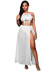 Women's White Floral Applique Sheer Bodysuit Dress