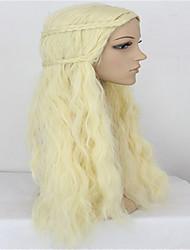 jeu de trônes une chanson de glace et de feu beige cosplay perruque blonde Daenerys Targaryen animés