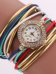 Fashion ladies/Women's watch leather Multilayer Weave Bracelet Watch crystal Quartz watch kids watches Imitation Diamond Fancy Watch