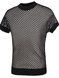 Masculino Camiseta Algodão Mosaico de Retalhos Manga Curta Casual-Preto / Branco