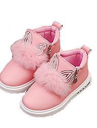 Girl's Flats Fall / Winter Comfort Leatherette Outdoor / Casual Flat Heel Zipper Pink / Red Walking