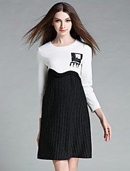 AINIER  Women's Casual/Daily Simple Sheath DressStriped Round Neck Above Knee Long Sleeve Black