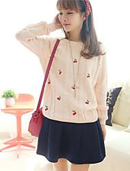 Damen Standard Pullover-Lässig/Alltäglich Einfach Blumen Blau / Weiß / Beige / Gelb / Lila Rundhalsausschnitt Langarm PolyesterAlle
