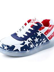 Unissex-Rasos-Light Up Shoes-Rasteiro-Branco-Couro Ecológico-Casual