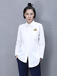 Women's Casual/Daily Simple Fall ShirtSolid Shirt Collar Long Sleeve White Opaque