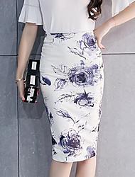 Jupes Aux femmes Mi-long Chinoiserie Coton Micro-élastique