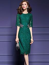 Damen Hülle Kleid-Party/Cocktail Einfach Solide Rundhalsausschnitt Knielang ½ Länge Ärmel Schwarz / Grün Nylon Herbst Mittlere Hüfthöhe