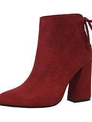 Women's Boots  Bootie / Pointed Toe / Closed Toe Casual Chunky Heel Lace-upBlack / Yellow / Red / Gray
