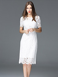 FRMZ  Going out Sophisticated Sheath DressSolid Round Neck Knee-length / Above Knee Short Sleeve White Polyester