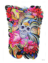 1pc Waterproof Temporary for Women Men Body Art Tattoo Skull Bone Fish Carp Flower Tattoo Pattern Sticker HB-284
