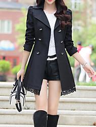 Trench Femme,Couleur Pleine Grandes Tailles Manches Longues Col de Chemise Rose Rouge Noir Vert Jaune Coton Polyester Nylon Moyen
