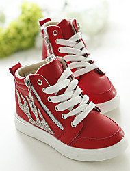 Unisex Sneakers Spring / Fall Flats PU Casual Flat Heel Zipper Black / Red / White Sneaker