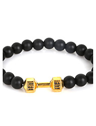 Beadia 1Pc 8mm Black Glass Beads Live Lift Dumbbell Strand Bracelet Christmas Gifts