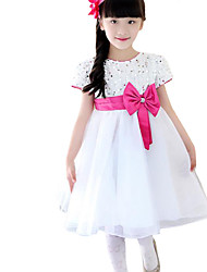 Girl's Casual/Daily Solid DressCotton Summer Blue / Purple / Red / White