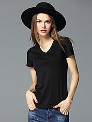 frmz Frauen Casual / Tages einfach Sommer t-shirtsolid V-Ausschnitt Kurzarm weiß / schwarz Baumwolle / Spandex-Medium
