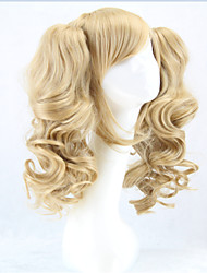 HOT Long Lolita Wig Ponytails Heat Resistant Wavy Synthetic Wigs Curly Blonde 2  Ponytail Anime Wig