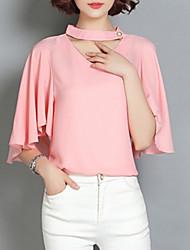 Summer Plus Size Women Loose Casual V Neck Short Sleeve Chiffon Blouse Slim Shirt Tops