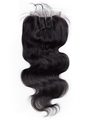 8inch to 20inch Черный Изготовлено вручную Естественные кудри Человеческие волосы закрытие Умеренно-коричневый Швейцарское кружевоabout