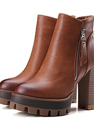 -Для женщин-Повседневный-Микроволокно-На толстом каблуке Блочная пятка-Ботинки-Ботинки