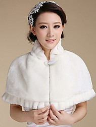 Women's Wrap Capelets Sleeveless Faux Fur White / Red Wedding / Party/Evening Scoop 42cm Feathers / fur Hidden Clasp