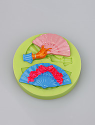 Fashion folding fan shape silicone cake mould decorating tools for fondant cake
