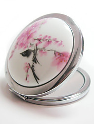 Hand-Paint Ceramic Makeup Mirror Travel Compact Folding Cosmetic Mirror Mini Pocket Magnifying Mirror for Make up