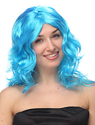 Sky Blue Long Curly Halloween Wig Synthetic Wigs Costume Wigs