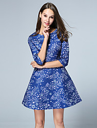MISS FRENCH  Going out Cute Sheath DressGalaxy Round Neck Above Knee Length Sleeve Blue Cotton