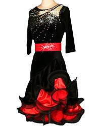 Dança Latina Vestidos Mulheres Actuação Treino Náilon Chinês Veludo Cristal/Strass Franzido 2 Peças Meia manga Cinto VestidosS-XXL:85
