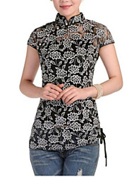 Women's Formal Vintage Summer Blouse,Floral Stand Short Sleeve Cotton Thin